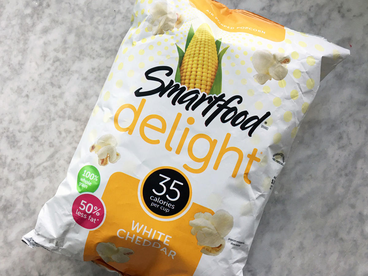 Smartfood's White Cheddar Popcorn has been a snacking hit for many years, but we're big fans of their new Smartfood Delight offerings. These new popcorns retain all their crisp, buttery flavor, but the manufacturers have cut back on the toppings, which lowers sodium and fat numbers greatly. 