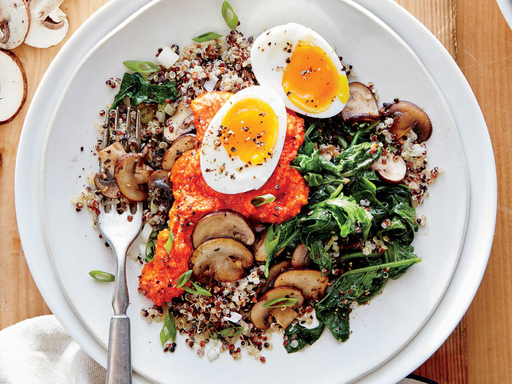 Kale and Mushroom Quinoa with Romesco