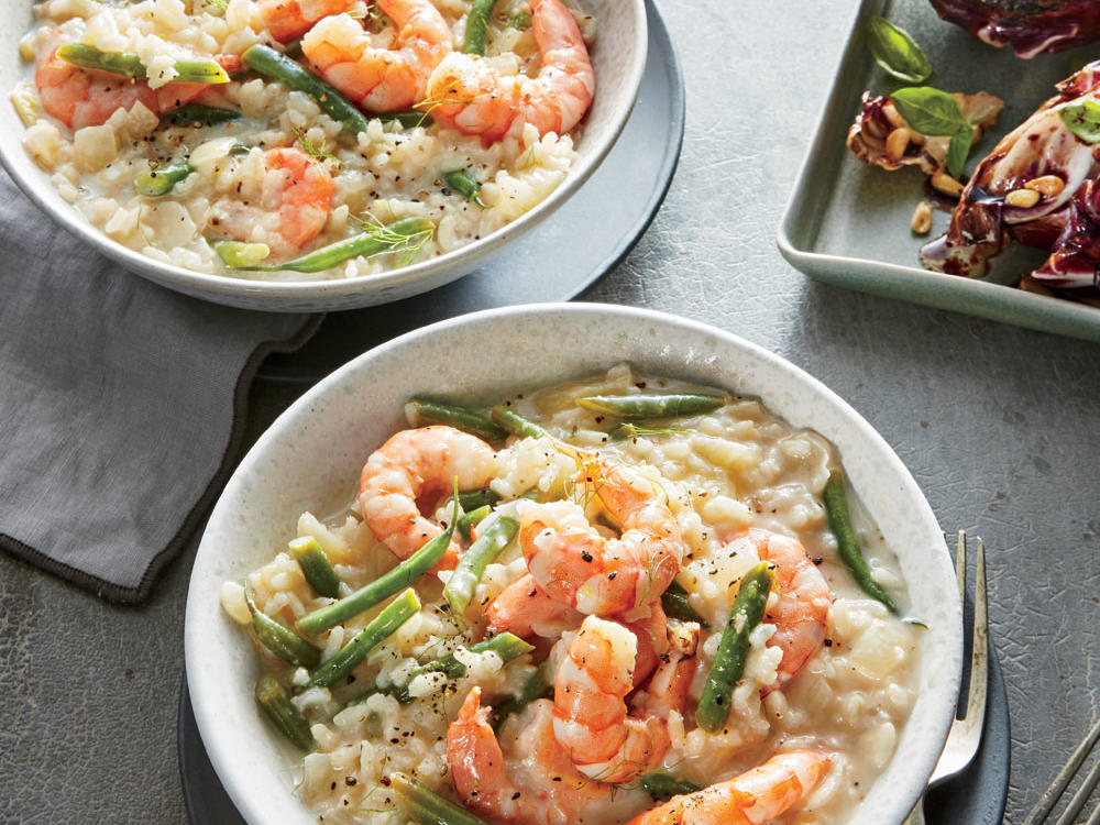 Lemon-Herb Risotto with Shrimp and Haricots Verts