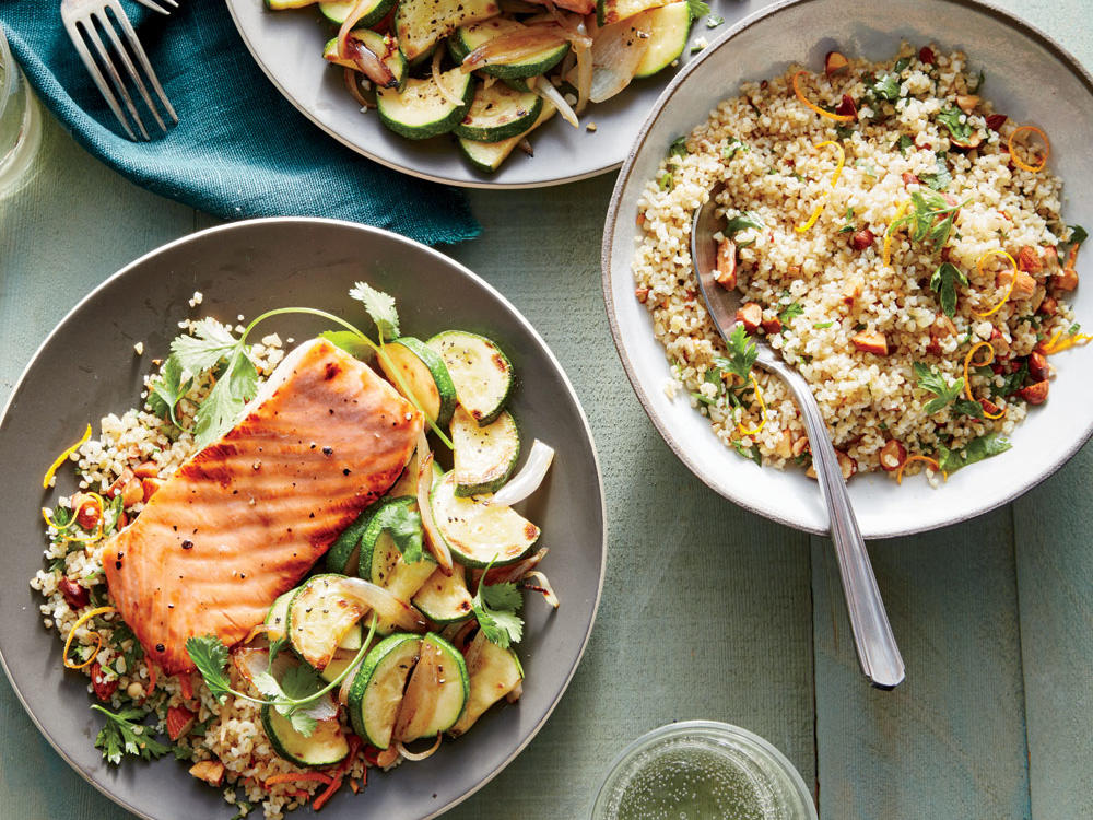 Honey-Dijon Glazed Salmon with Flash-Cooked Zucchini