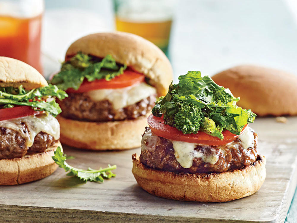 Provolone and Broccoli Rabe Beef Sliders