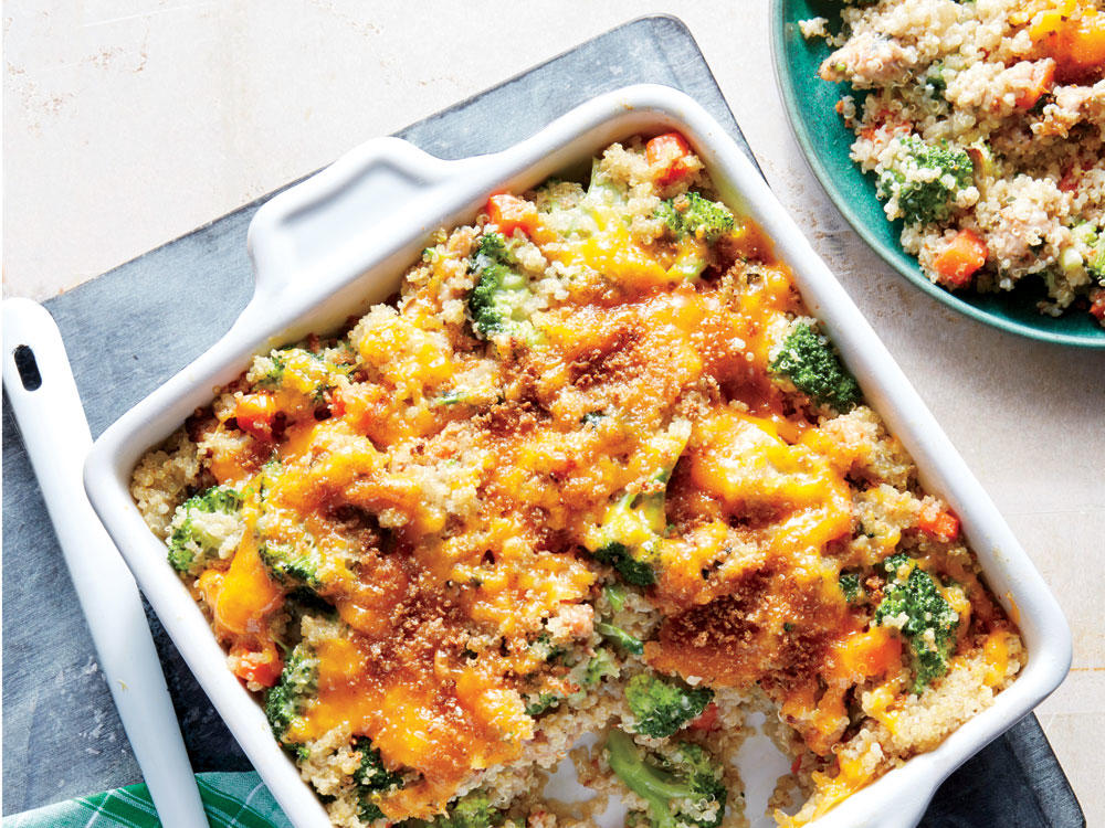 Cheesy Sausage, Broccoli, and Quinoa Casserole