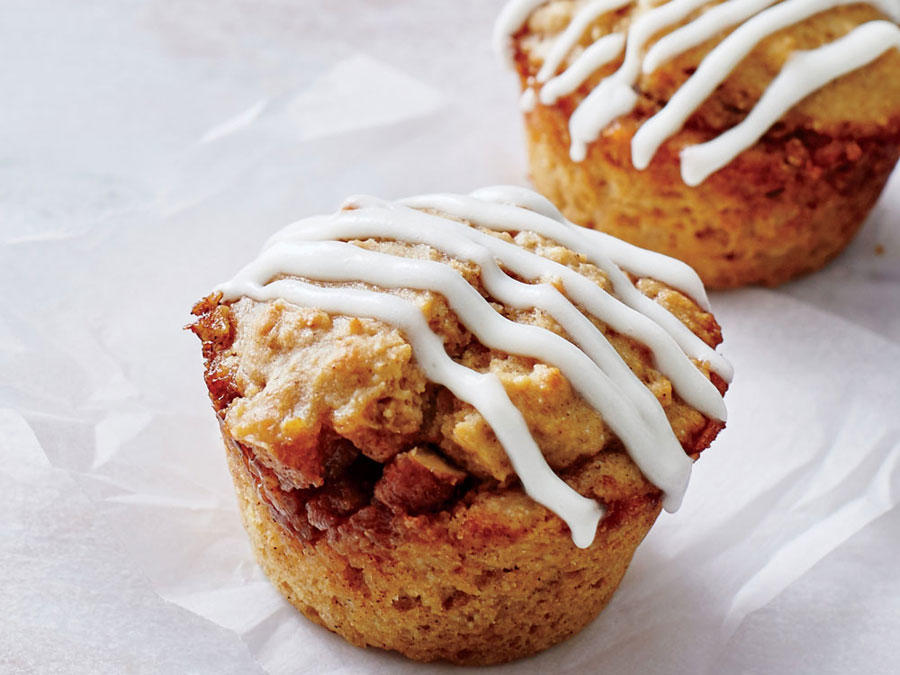 We transform the cinnamon roll into a portable muffin that's packed with whole grains, ribboned with nutty streusel, and topped with a tart-sweet yogurt glaze. Yeasted cinnamon rolls take hours. These speedy muffins are done in just 30 minutes. Keep leftovers in an airtight container up to 4 days, or freeze up to 1 month.