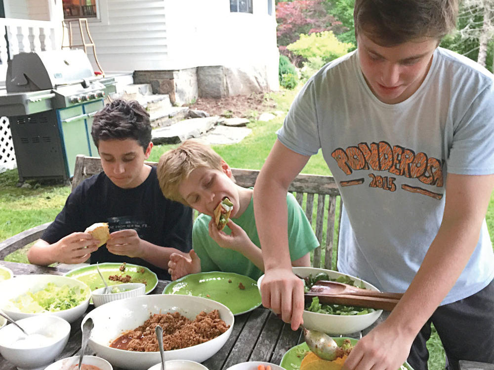 Katie Workman's sons at taco night