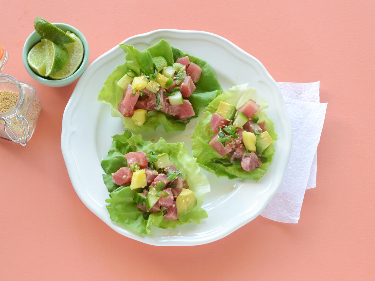 The Hawaiian dish of poke is a classic no-cook recipe. Ahi tuna is tossed with fresh citrus for a tangy lettuce cup filling that will make you dream of tropical getaways. Avocado adds a creamy texture while toasted sesame seeds contribute a toasty flavor.