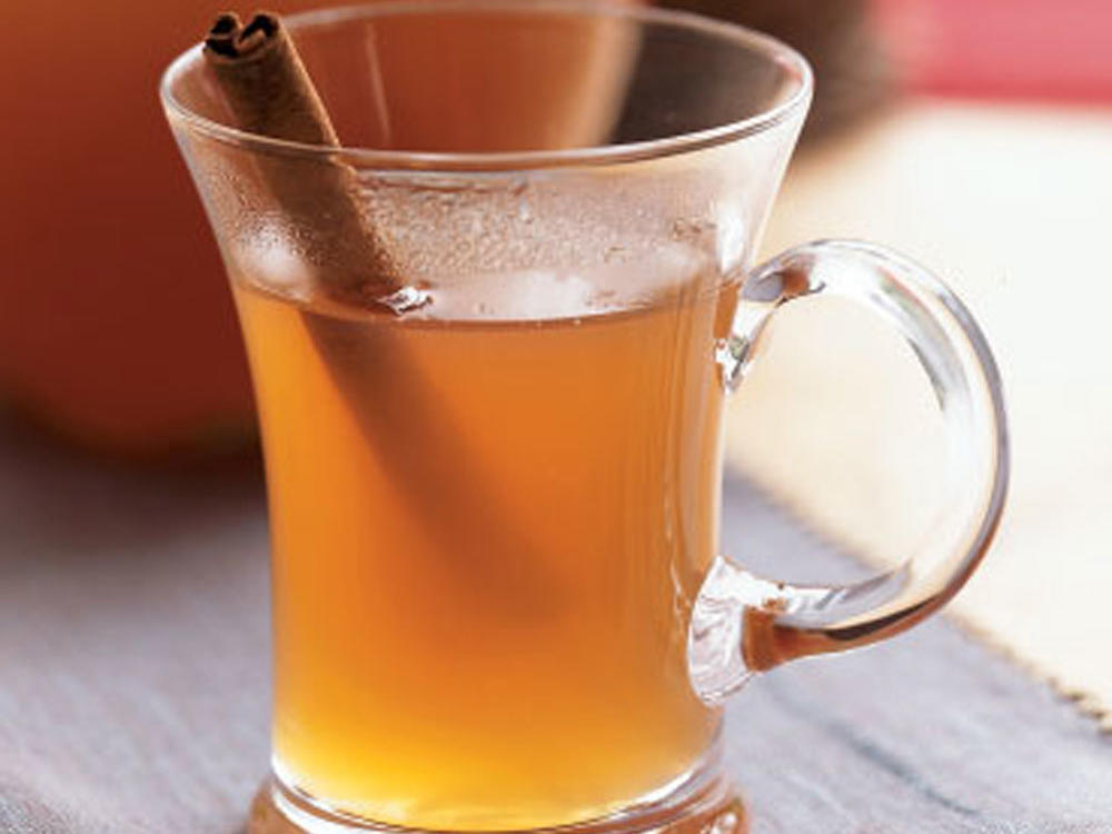 A steaming fragrant mug of this cider is a welcome treat on a brisk fall afternoon. Garnish with a cinnamon stick or lemon slice, if desired.