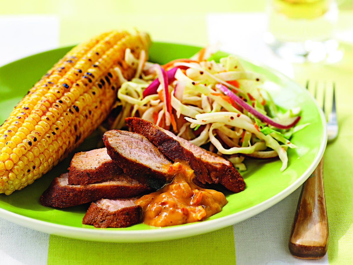 Spice-Rubbed Pork Tenderloin with Mustard Barbecue Sauce