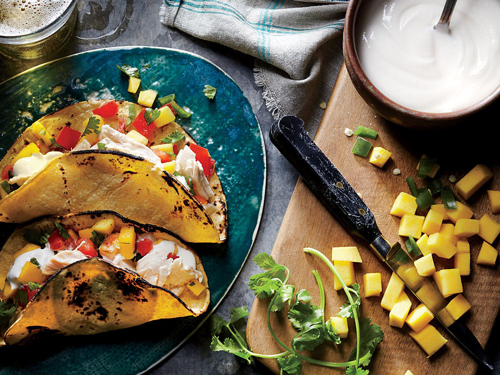 Mexican: Shredded Chicken Tacos with Mango Salsa