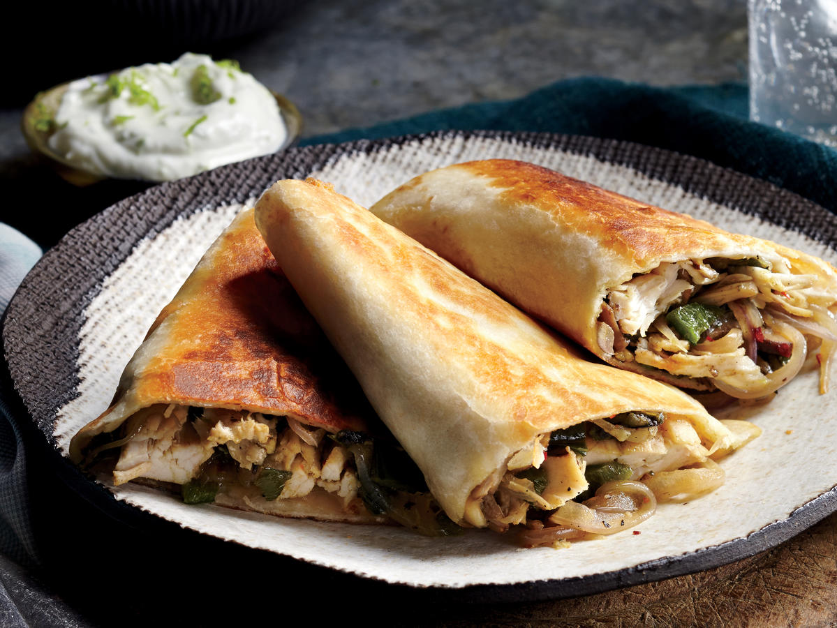 Mexican: Poblano, Chicken, and Mushroom Quesadillas