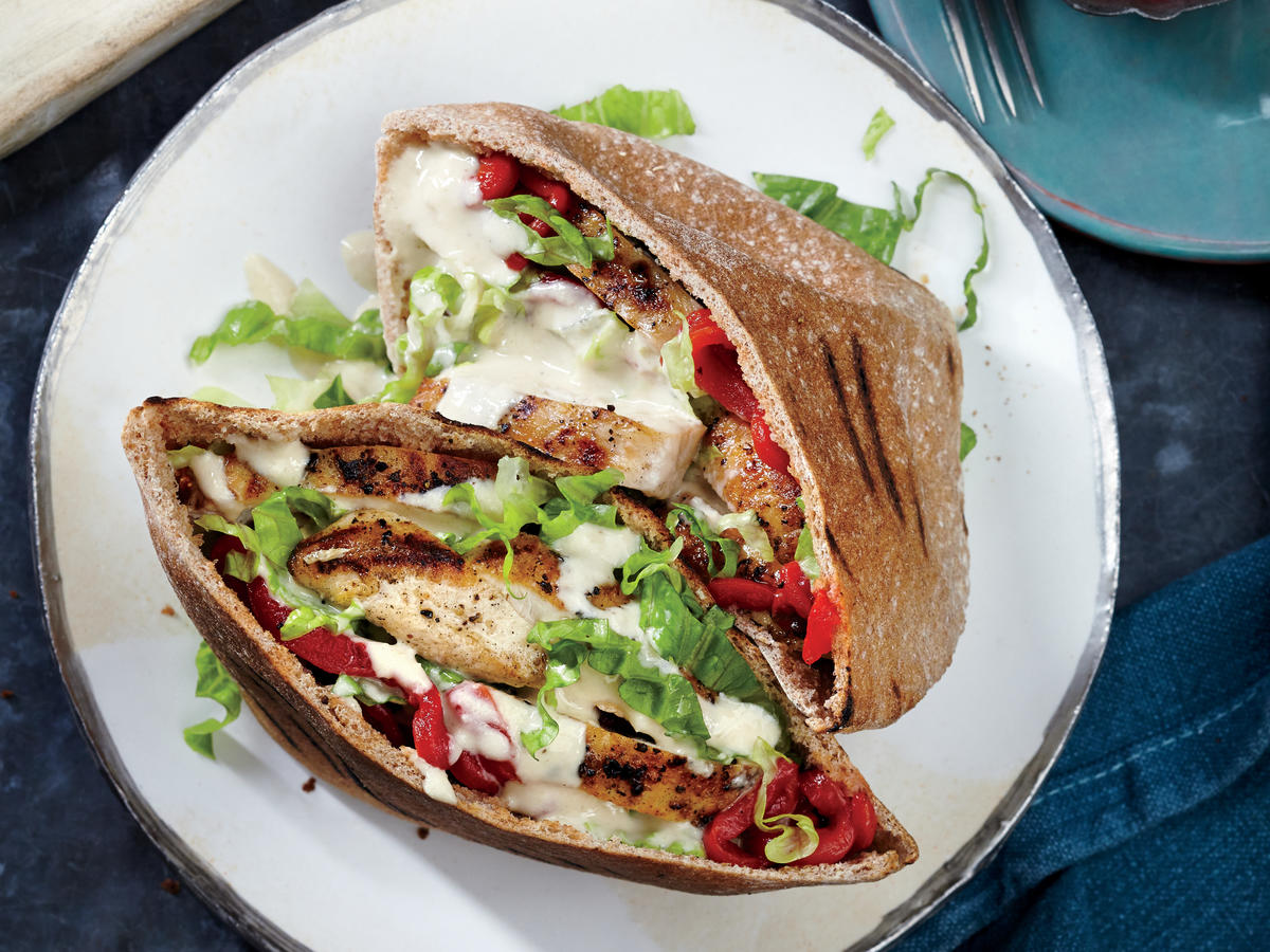 Middle Eastern: Grilled Chicken Pitas with Sesame Drizzle