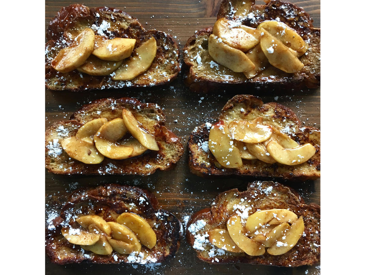 challah french toast honey apple ginger compote
