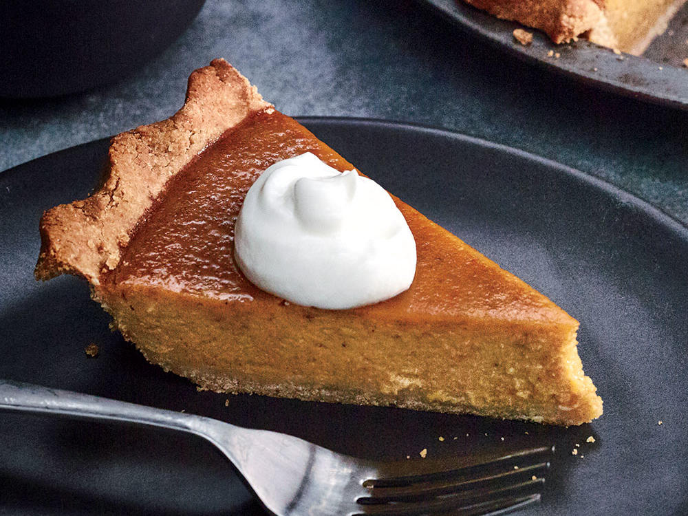 By roasting the pumpkin whole, you avoid cutting it open and scooping out the seeds and membrane. If you'd like, serve pie with a dollop of lightly sweetened 2% reduced-fat yogurt.