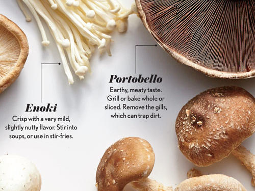 Portobello and Enoki Mushrooms