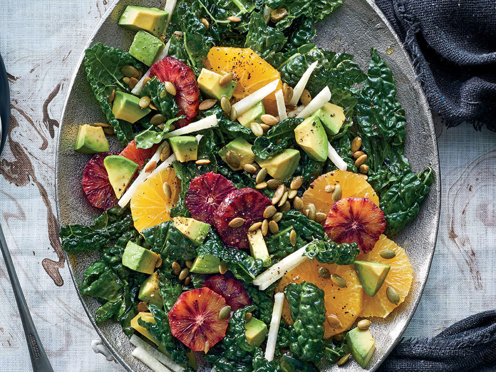 1610 Kale, Jicama, and Orange Salad - Types of Kale Closer