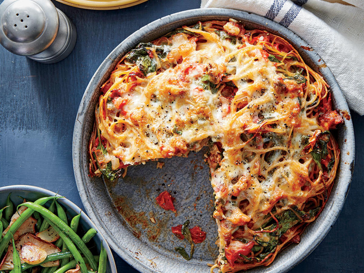 Sausage and Spinach Spaghetti Pie