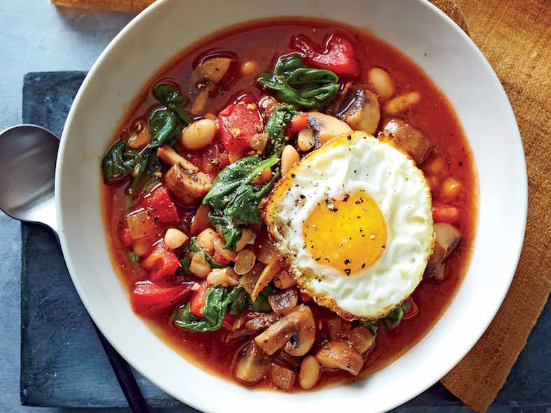 White Bean and Vegetable Bowls with Frizzled Eggs