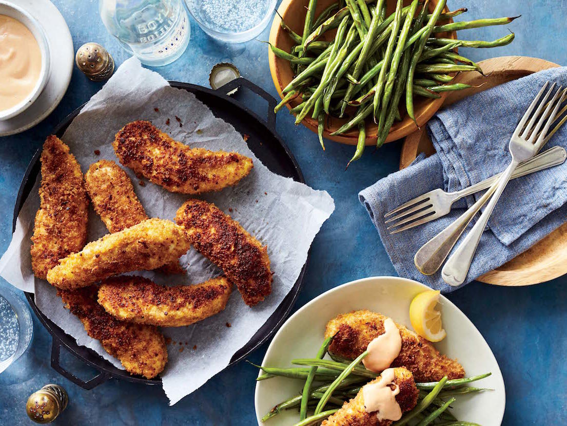 Chicken Fingers and Green Beans with Tahini Sauce