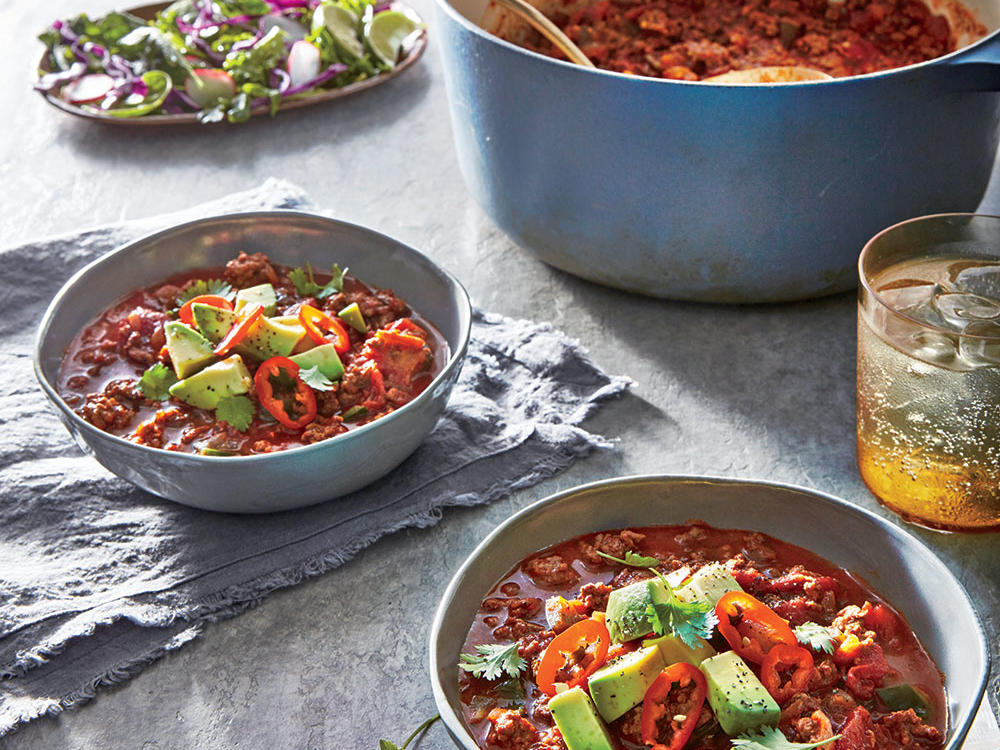 Starter Dish: Smoky Beef and Poblano Chili