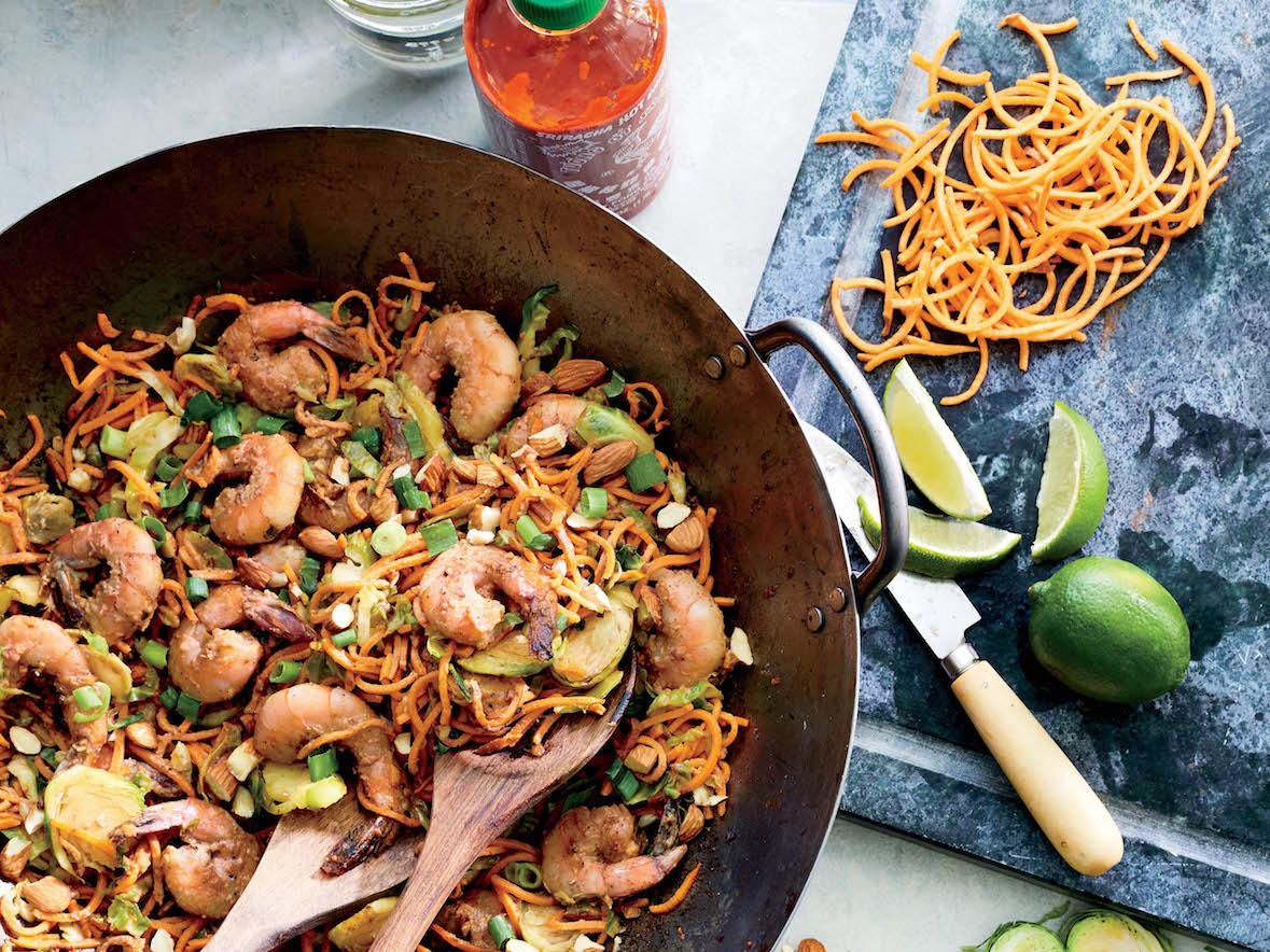 29 surprising ways to use sweet potatoes cooking light sweet potato noodles with shrimp and thai style almond sauce forumfinder Images