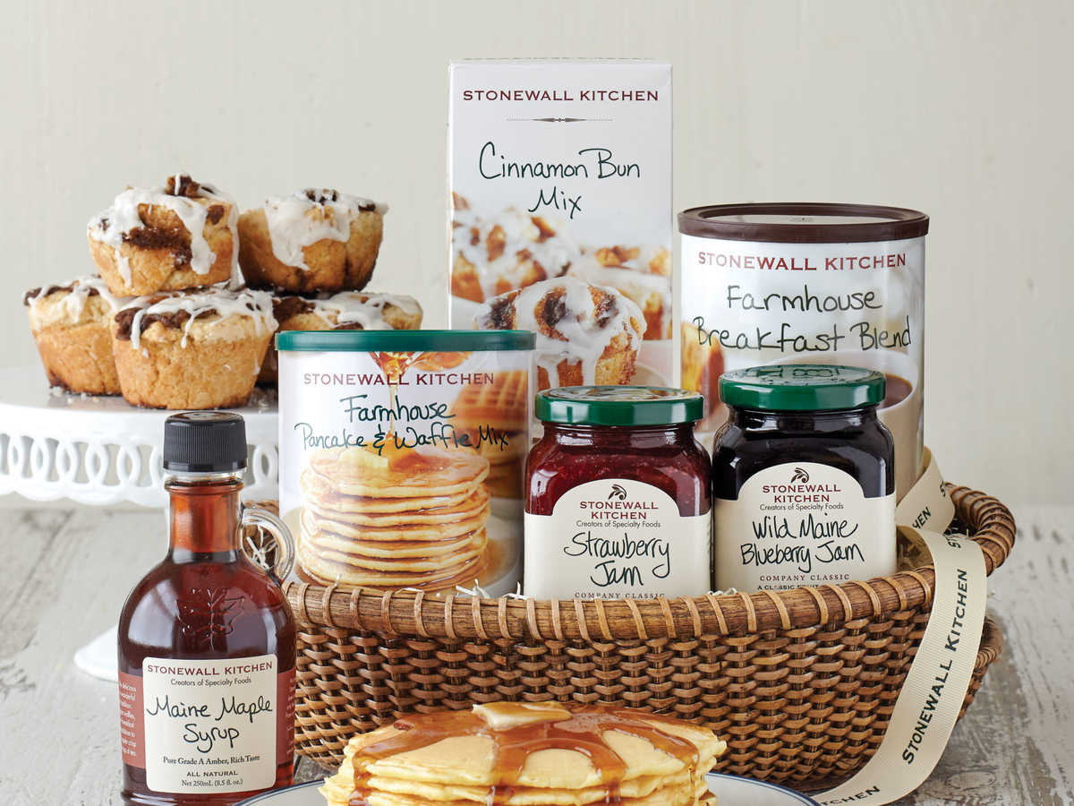 Coffee, pancakes, waffles, jam, and cinnamon buns. That sounds like the perfect breakfast medley to us, and this gift basket has got it all. Presented in a gorgeous Nantucket-style basket, this is just the gift for a breakfast lover or a group of friends hungry for a sweet, hearty breakfast.