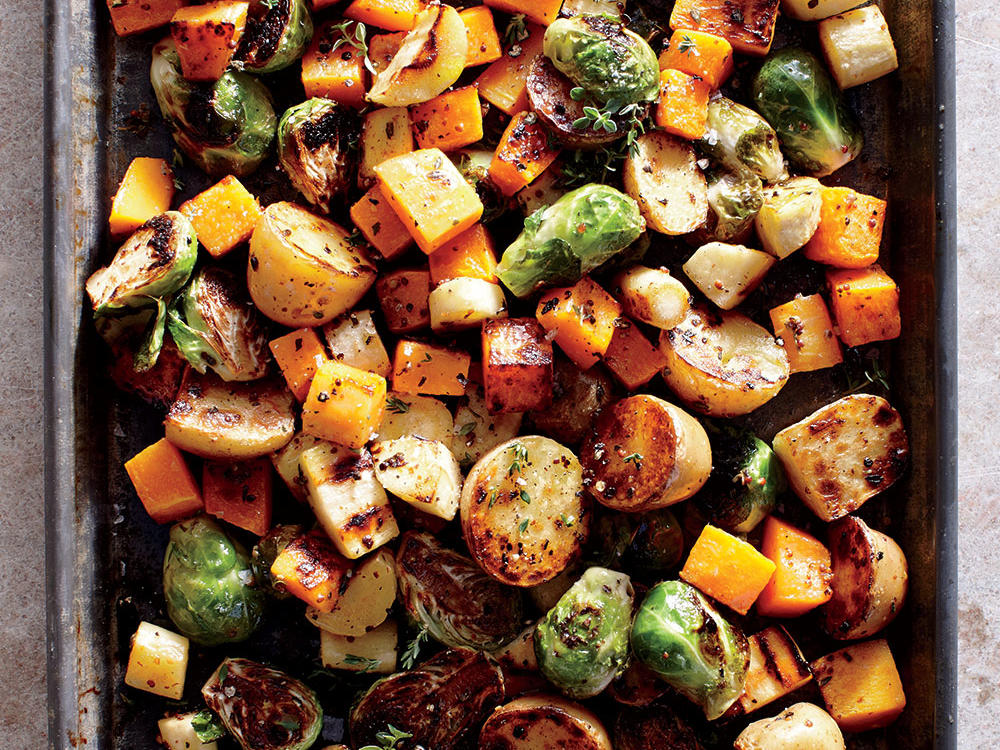 A mix of colorful root vegetables may be your star side. Peeled, prechopped butternut squash saves time, but pieces tend to be irregular and small—we prefer peeling and cubing it yourself.