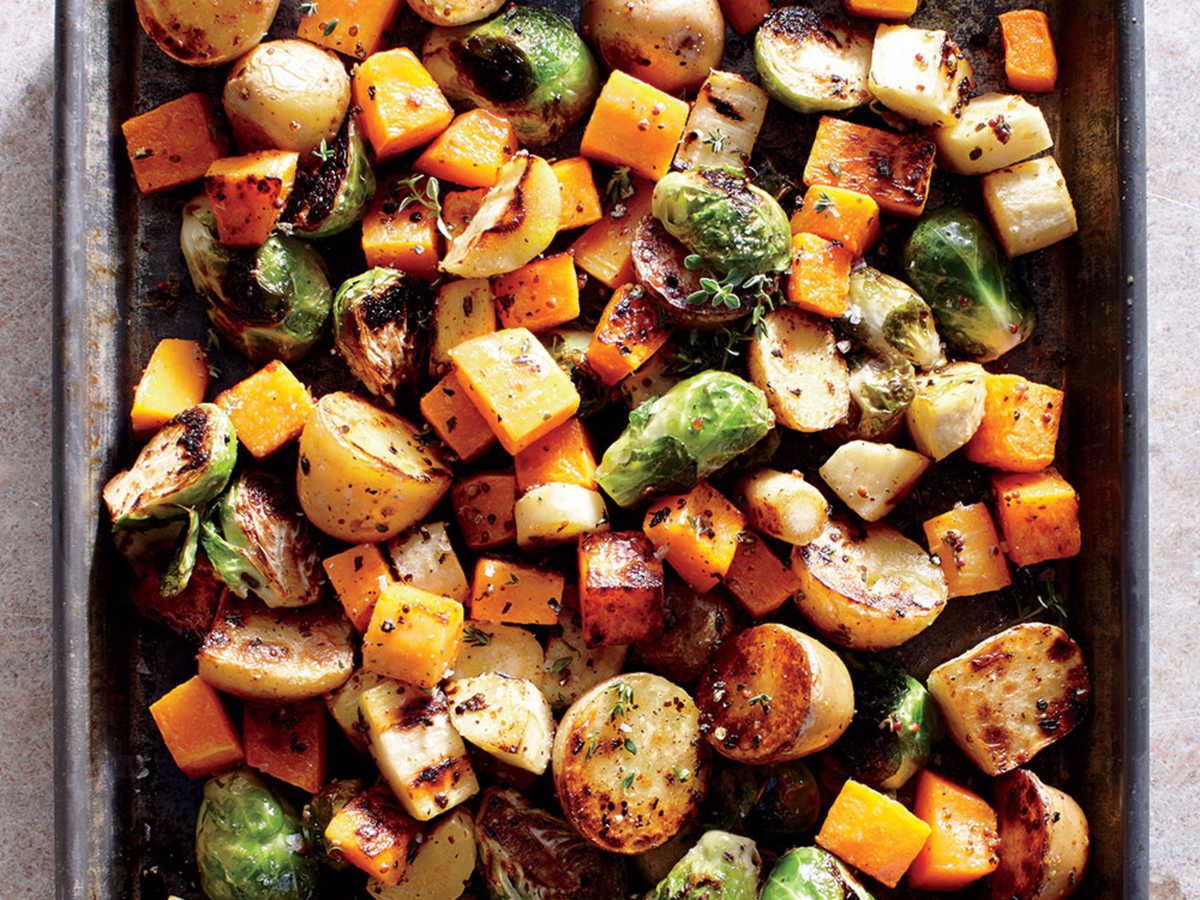 Opt for simply roasted veggies in place of rich and creamy casseroles and loaded potato dishes brimming with fat and calories. This mix of colorful root vegetables may be your star side. Peeled, prechopped butternut squash saves time, but pieces tend to be irregular and small—we prefer peeling and cubing it yourself. A simple mixture of olive oil, whole-grain mustard, apple cider vinegar, thyme, salt, and pepper dresses these vegetables up for the occasion.