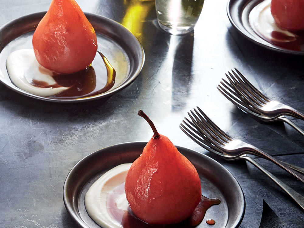 The rosy hue of the hibiscus syrup is a holiday showstopper. Drizzle over spiced poached pears for a dessert that's a bit lighter, gluten-free, and still feels holiday-special. The key to beautifully poached pears is to cook them in just enough liquid to submerge the fruit—any more and the flavor from the spices may be lost. A parchment paper topper and a plate will keep liquid from evaporating too quickly. Reduce additional poaching liquid and reserve as the base for holiday cocktails, the sweet component of a salad dressing, or a drizzle for your cheese board.