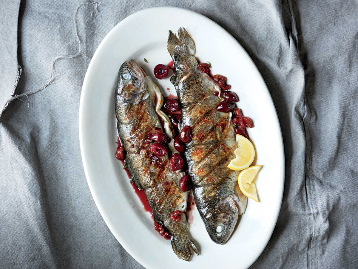 If you can't find whole trout, use fillets; they'll only need to grill for about 4 minutes. You can also use 20 ounces frozen, thawed cherries: Use the liquid (don't drain them); simmer in step 1 until the liquid almost fully evaporates before stirring in the port and honey.