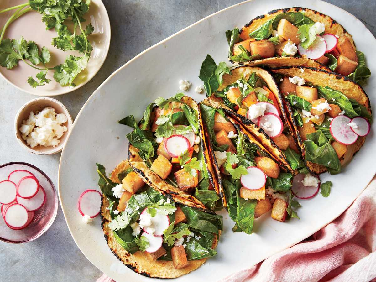 33 simple vegetarian recipes cooking light smoky potato and greens tacos forumfinder Images