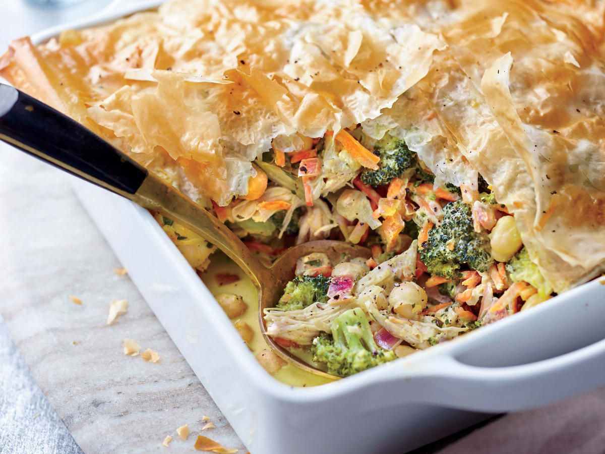 Turkey, Broccoli, and Phyllo Pie