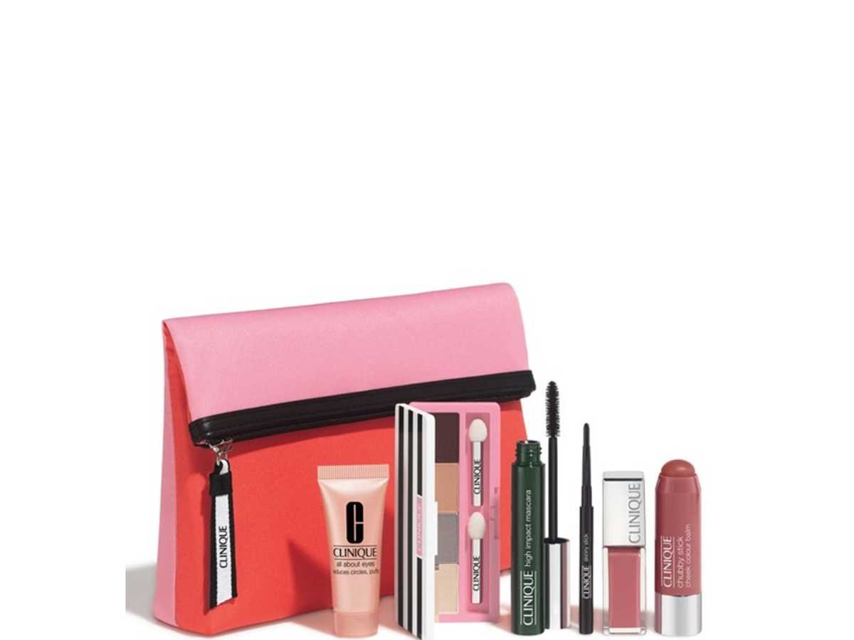 Everything you love about Clinique is in this one compact and affordable bag. Whoever you give this to will never have to buy eye, lip, or cheek makeup again. All the classics from Clinique are in this collection, from the All About Shadow Quad, Skinny Stick in Slimming Black eye pencil, High Impact Mascara, Chubby Stick Cheek Color Balm in Amped Up Apple, and so much more. All the items are fragrance-free and easy on your skin. The best things come in bright pink cosmetic bags, especially under the tree or stuffed in a stocking.