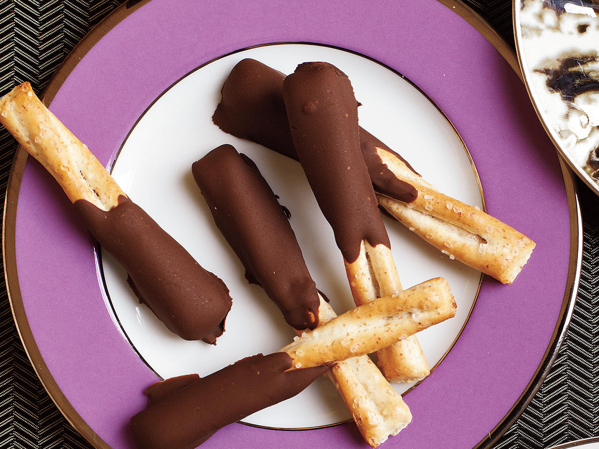 Peanut Butter and Chocolate Dipped Pretzels