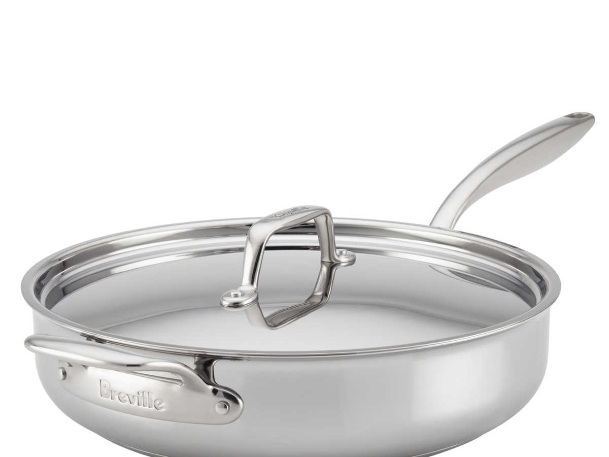 Breville Thermal Pro Clad Stainless Steel 5-Quart Covered Saute with Helper Handle