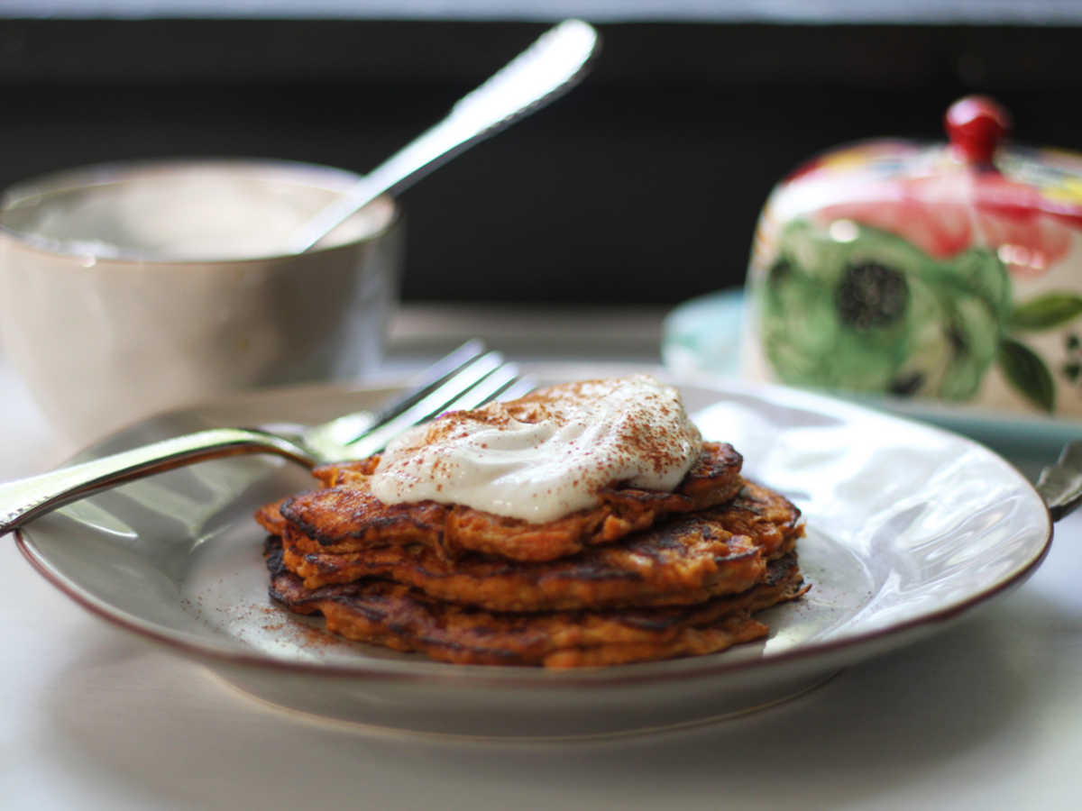 2-Ingredient Sweet Potato Pancakes