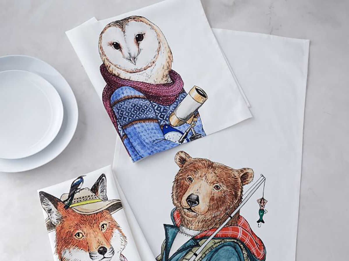 West Elm Dapper Animal Tea Towels
