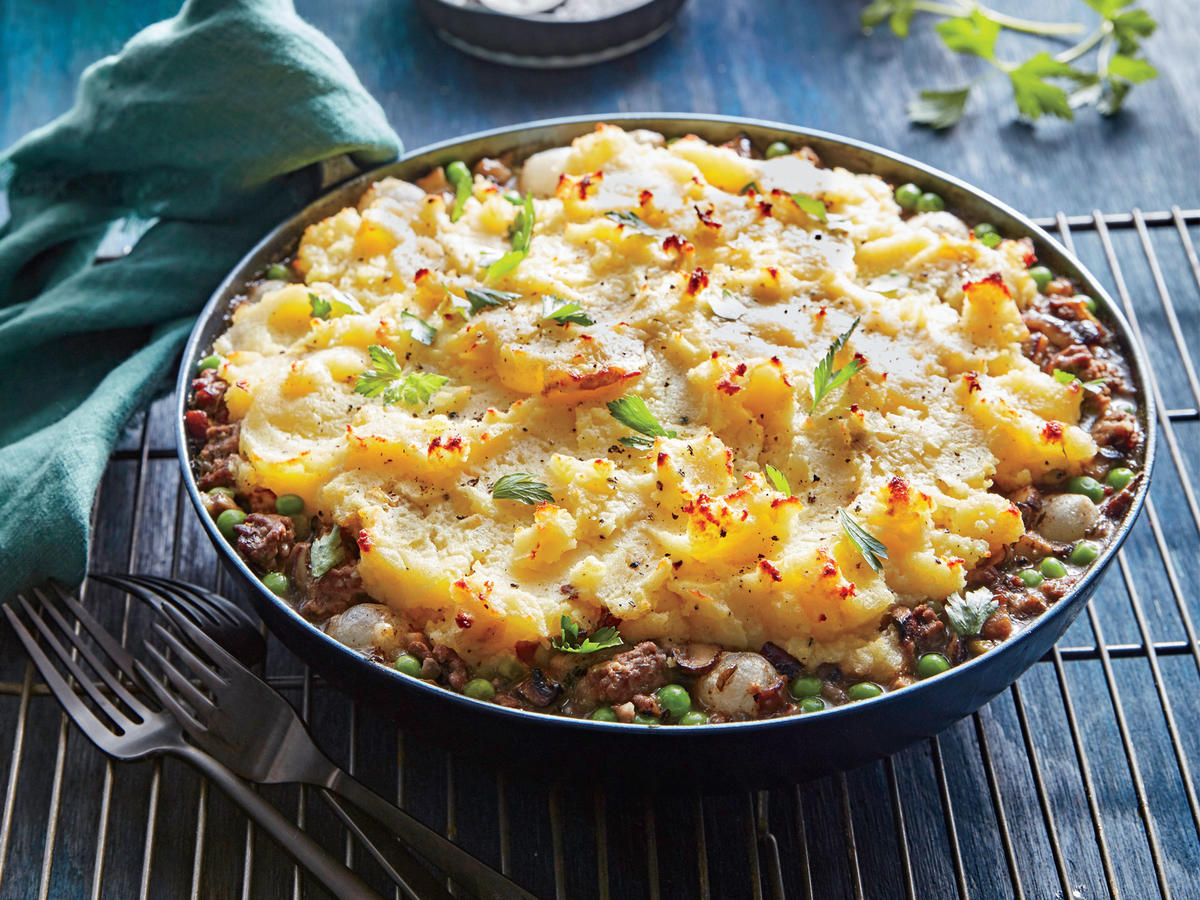 The addition of mushrooms—what a forager might find—makes for a delicious twist on classic shepherd's pie.