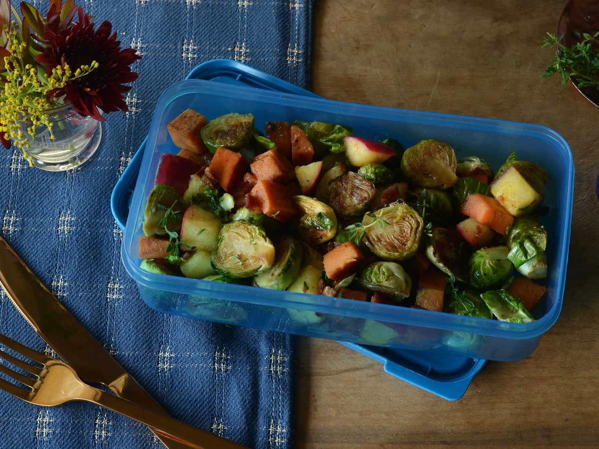 You've got this covered, remember? You did all that prep last night for today's lunch to save yourself a moment of panic. Heat up the rest of your Brussels Sprouts, Sweet Potato and Apple Harvest Hash in the toaster oven or microwave. If you need an extra boost, a spoonful of 2% greek yogurt with a splash of lemon juice will jazz up the leftovers.