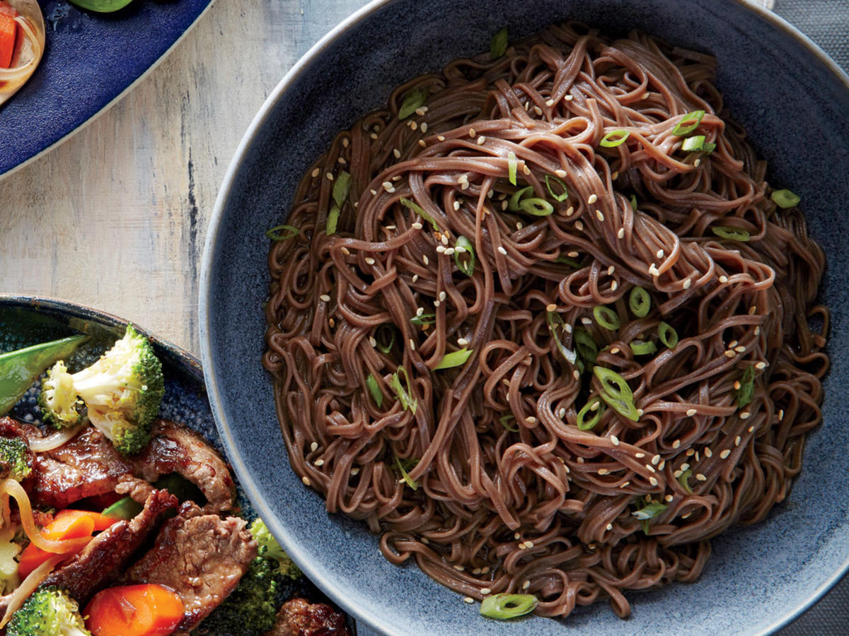 Soba noodles are made of buckwheat flour and have a toasty, nutty flavor. You can sub whole-wheat linguine if you can't find them.