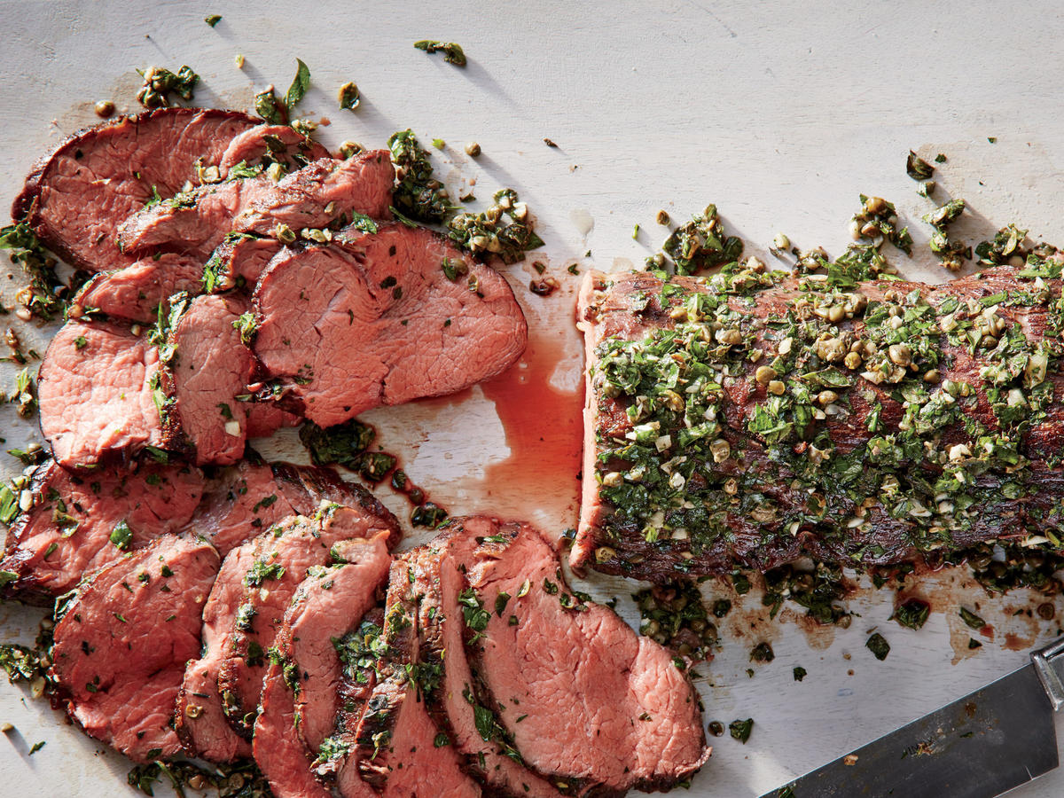 Roasted Beef Tenderloin with Pepper and Caper Salsa picture