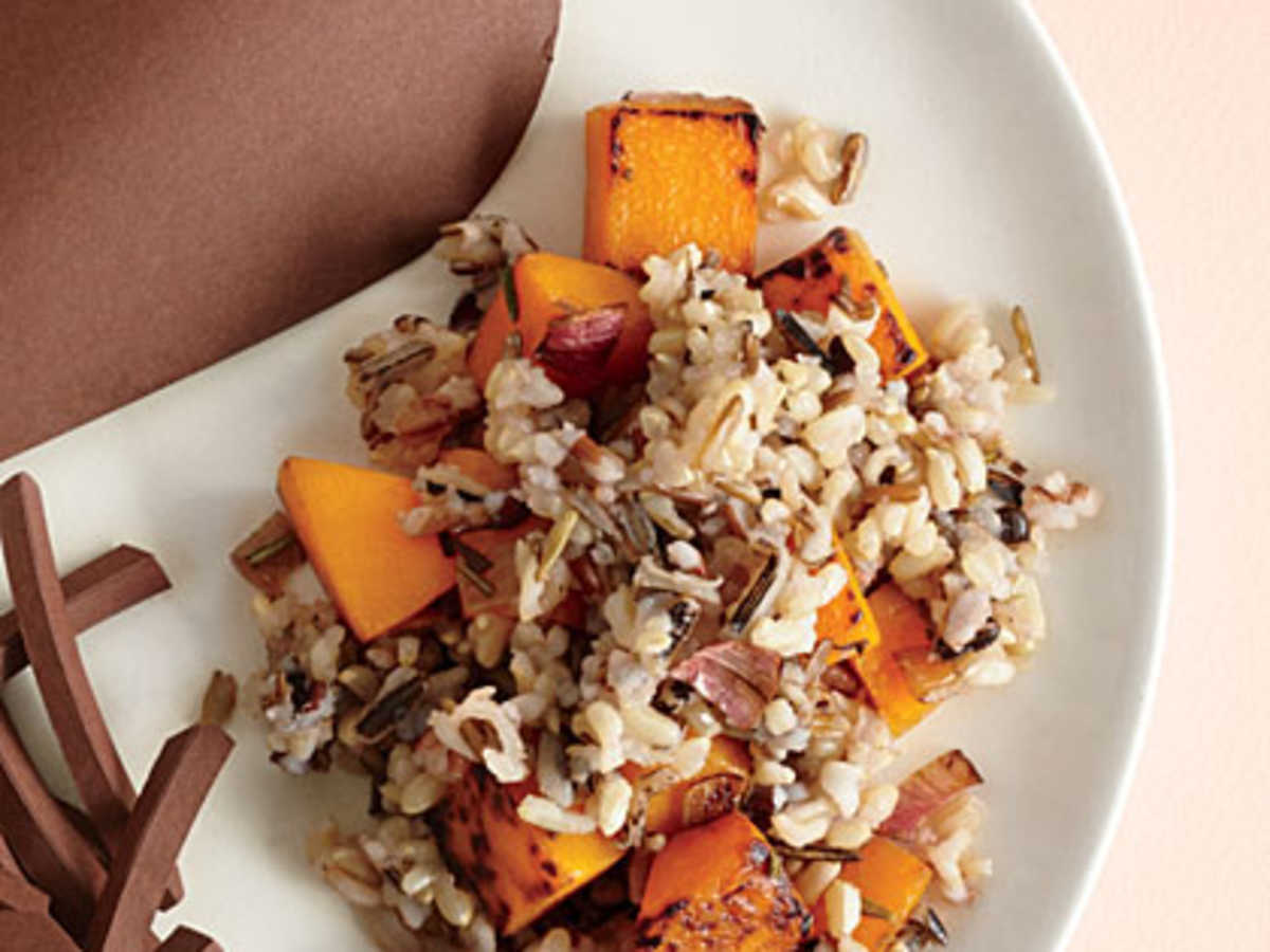 We think butternut squash tastes good in just about anything. Complimenting a simple wild rice dish here, it adds just the right amount of sweetness.