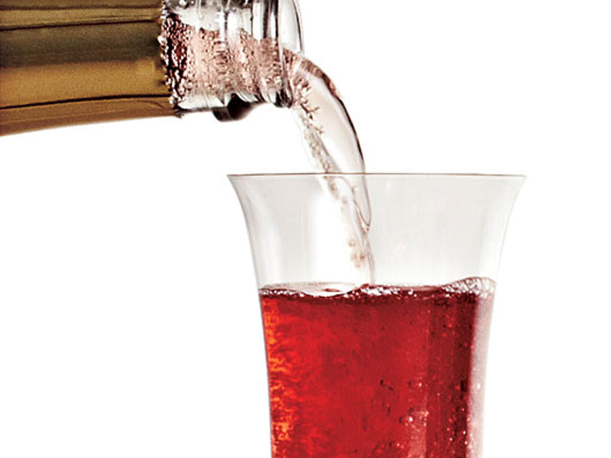 Bubbly with a splash of cranberry juice.