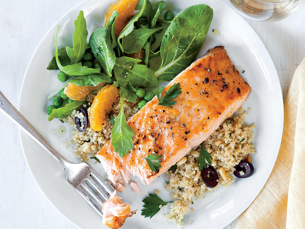 Orange-Glazed Salmon with Olive Quinoa Weight-Loss Plan
