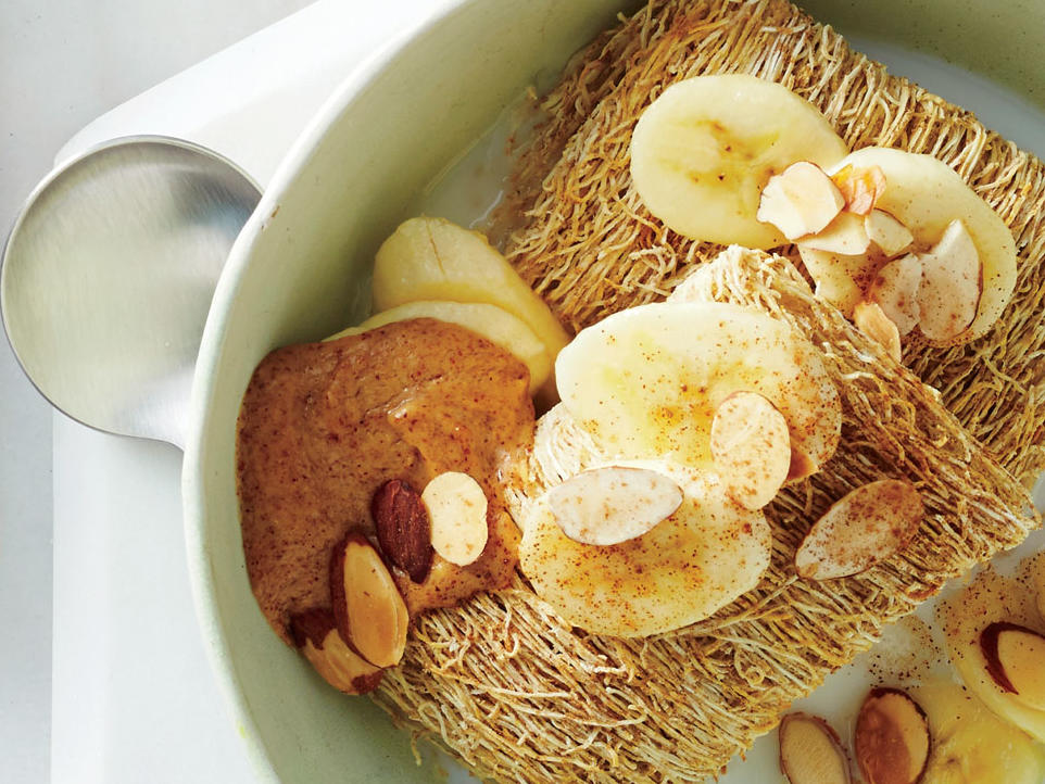Cutting 13g of added sugar is easy when your breakfast consists of shredded wheat biscuits soaked in 1% reduced-fat milk, sliced banana, almond butter, toasted almonds, and a dash of cinnamon. You won't miss your typical honey-cluster oat cereal for a second.