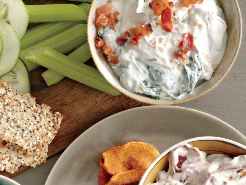 The bold flavor of blue cheese and saltiness of the bacon give a creative punch to your average spinach dip. Serve with celery sticks for an added crunch.