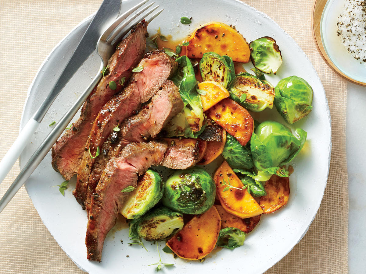 Broiled Flat Iron Steak With Brussels Sprouts and Sweet Potatoes