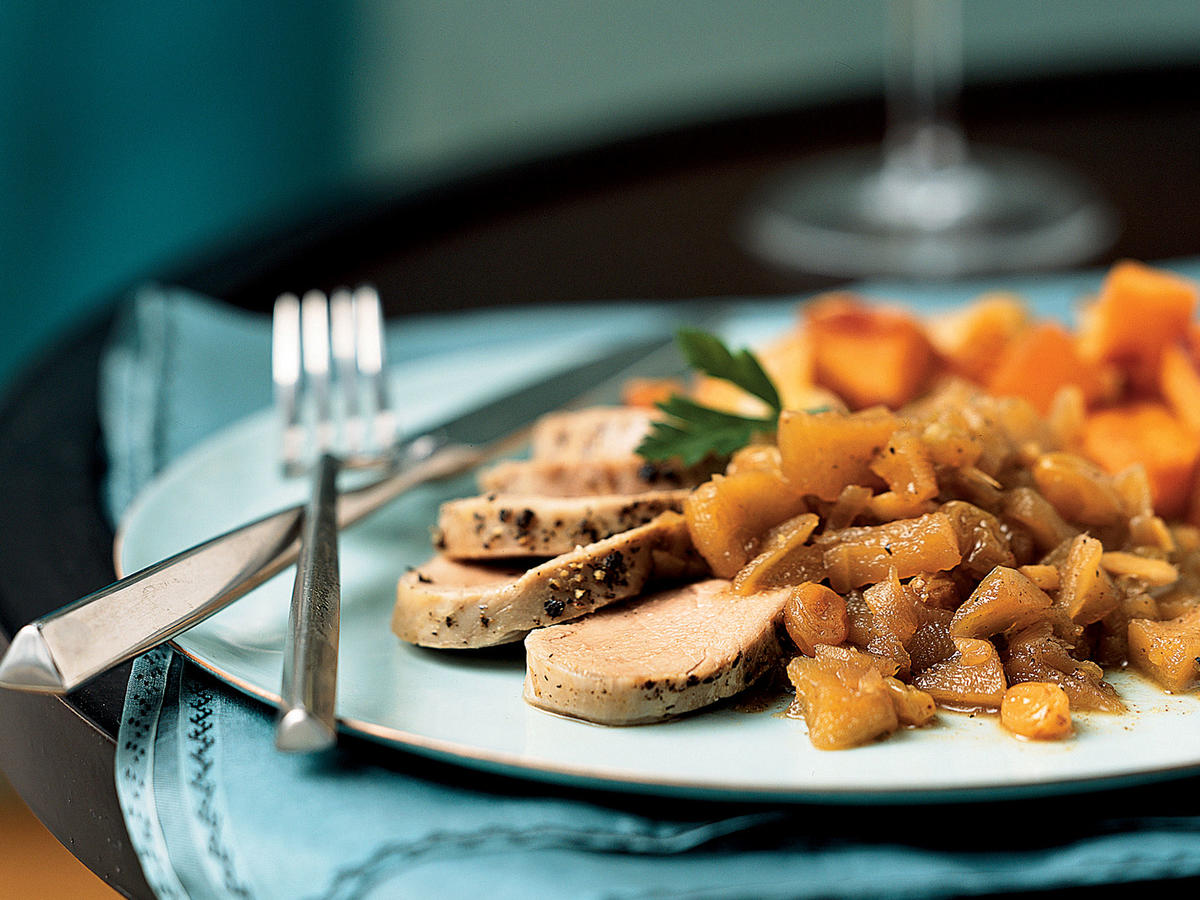 Chai Brined Pork Tenderloin with Spiced Apple Chutney