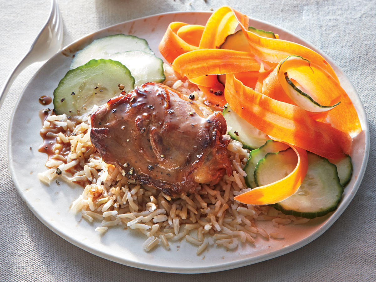 Complete the meal with hot cooked brown rice and thinly sliced cucumber and carrots.