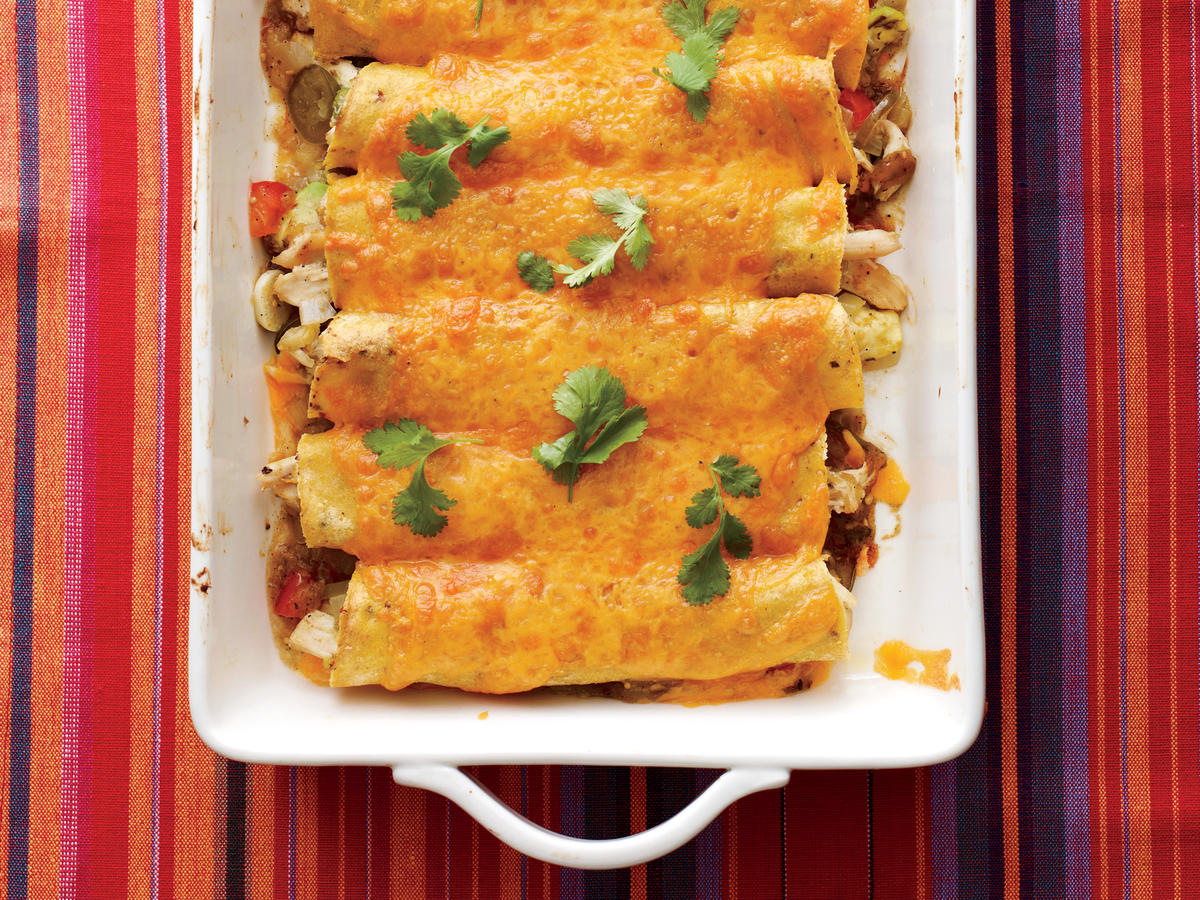 Shredded chicken verde enchiladas are a sure-fire winner at the dinner table. Expedite the chicken shredding by inserting two forks into the meat while it is still warm, then pull apart to shred.