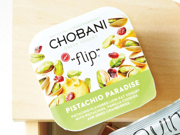 Chobani Flip Pistachio Paradise is the perfect combo of crunchy pistachio with tart dried cranberries. These are easy to keep in an office refrigerator and feel like a step up from your everyday chips or crackers. With wholesome, non-GMO ingredients and three types of probiotics packed inside, you're sure to feel good about your mid-afternoon treat. 