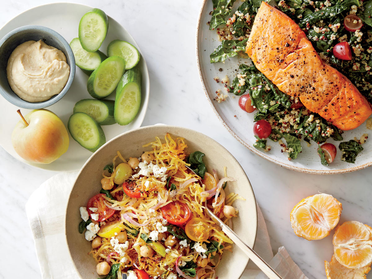 BREAKFAST: Berry Green Smoothie                                                      SNACKS: 3 Tbsp. hummus with 1/2 cup cucumber slices and 1 medium apple                                                      LUNCH: Greek Spaghetti Squash Toss with 1 orange or 2 clementines                                                      DINNER: Roasted Salmon with Kale-Quinoa Salad